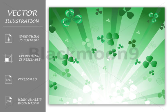 Radiant Green Background with Clover Graphic Backgrounds By Blackmoon9