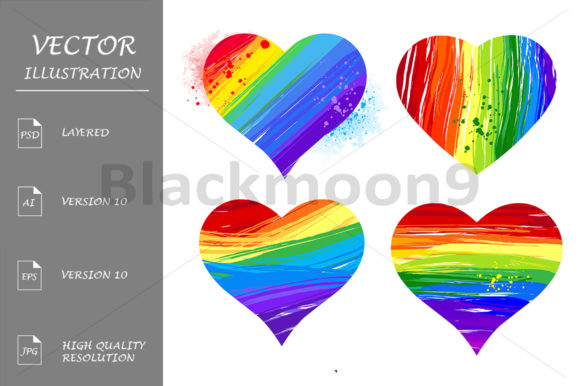 Rainbow Hearts Graphic Illustrations By Blackmoon9