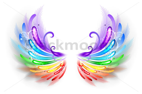Rainbow Wings on a White Background Graphic Illustrations By Blackmoon9