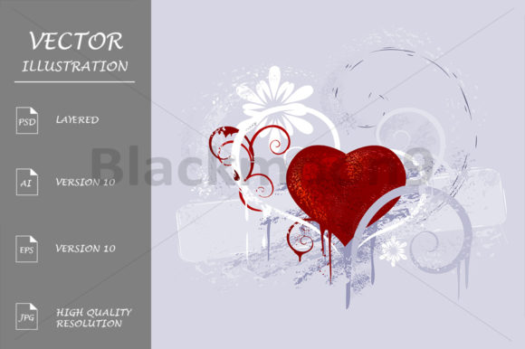 Red Heart on a Gray Background Grafik Illustrationen von Blackmoon9