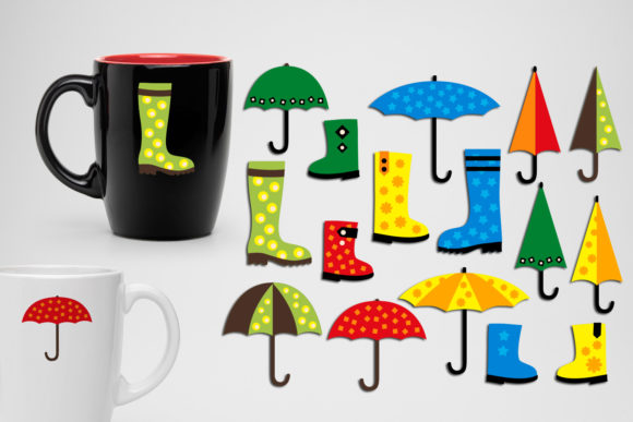 Print on Demand: Spring Boots and Umbrellas Graphic Illustrations By Revidevi