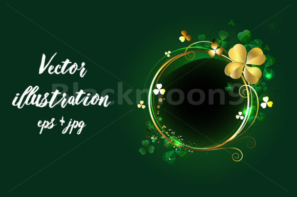 Round Banner with Clover Graphic Illustrations By Blackmoon9