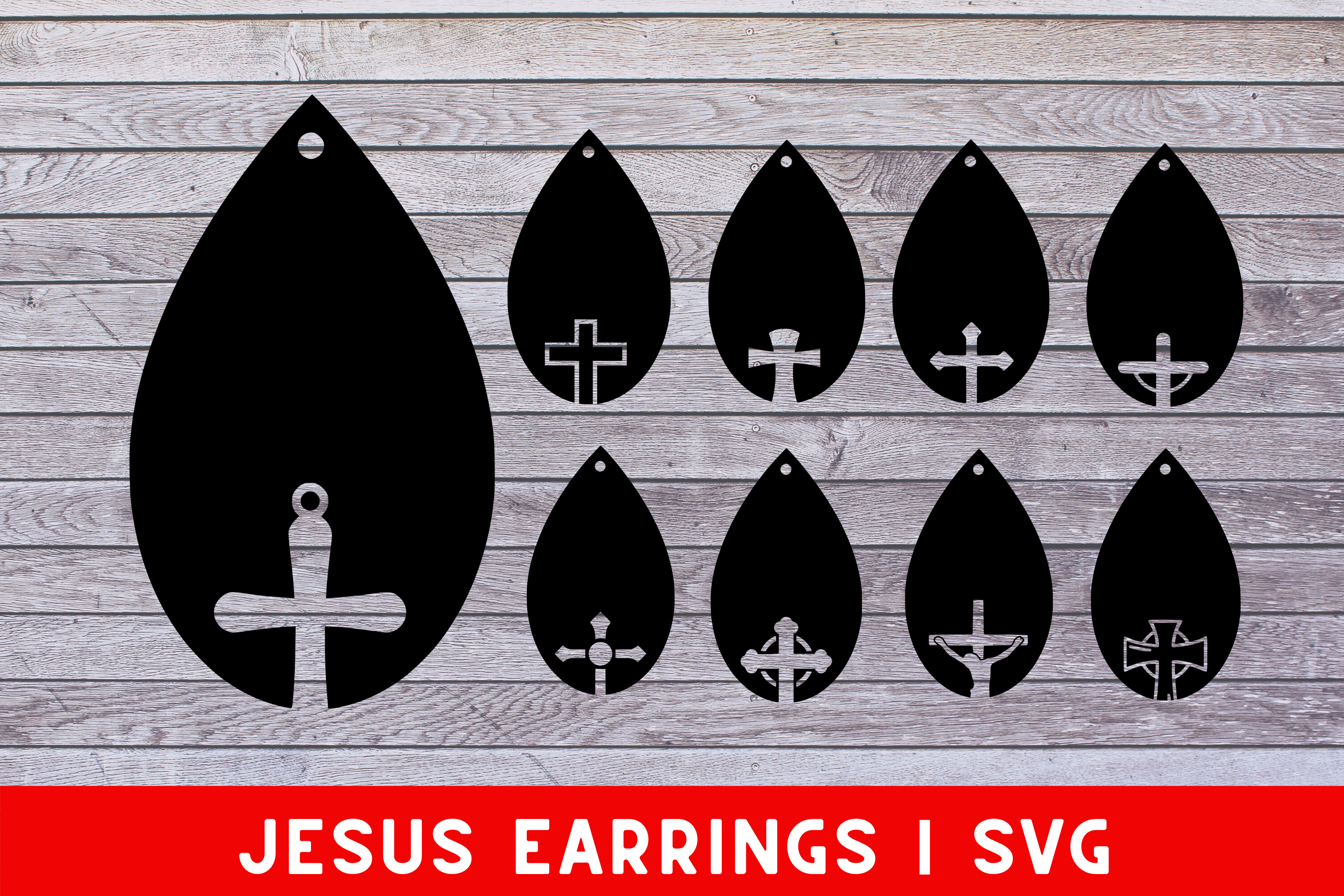 Download Free Jesus Earrings Svg Cut File 9 Graphic By Mockup Venue for Cricut Explore, Silhouette and other cutting machines.