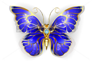 Sapphire Butterfly Graphic Illustrations By Blackmoon9