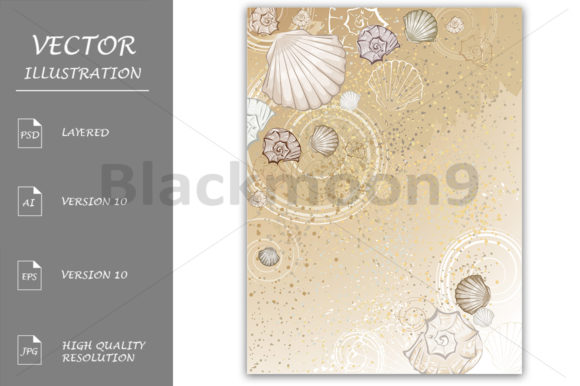 Download Free Seashells On The Sand Graphic By Blackmoon9 Creative Fabrica for Cricut Explore, Silhouette and other cutting machines.
