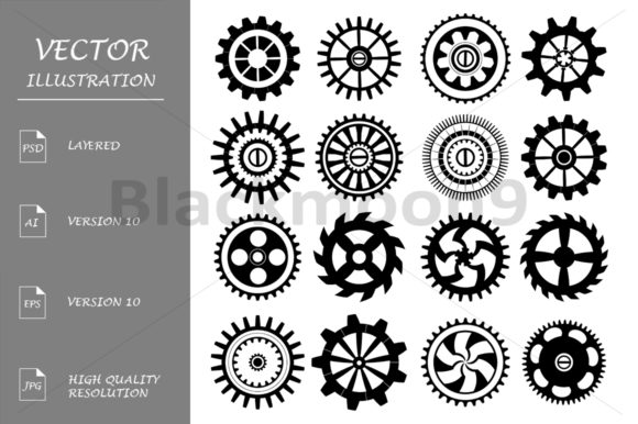 Set of Flat Gears Graphic Illustrations By Blackmoon9