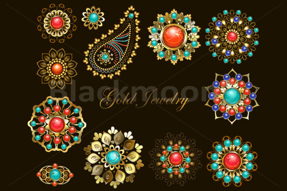 Set of Jewelry Ethnic Brooches Graphic Illustrations By Blackmoon9