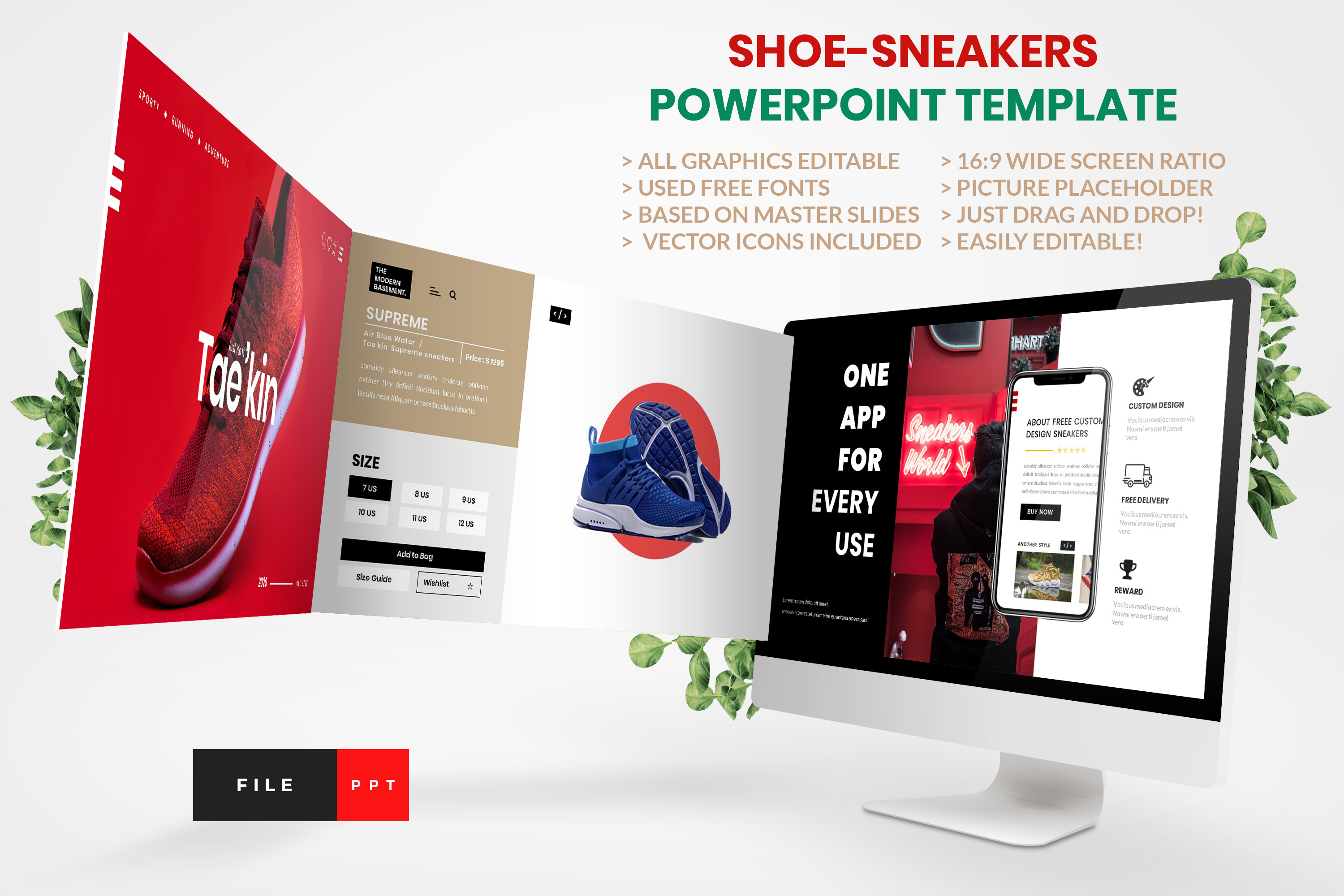 Download Free Shoe Sneakers Powerpoint Template Graphic By Artstoreid for Cricut Explore, Silhouette and other cutting machines.