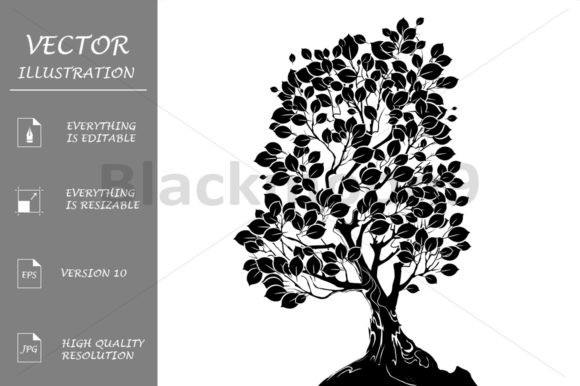 Silhouette of a Deciduous Tree Graphic Illustrations By Blackmoon9
