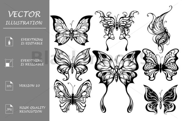 Silhouettes of Exotic Butterflies Graphic Illustrations By Blackmoon9