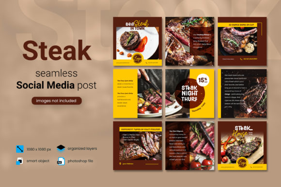 Print on Demand: Steak Social Media Post - Brown Color Graphic Websites By diqtam