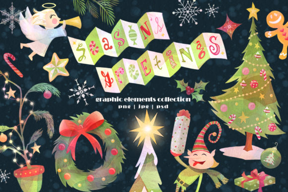 Season's Greetings Graphics Set Graphic Illustrations By Dapper Dudell - Image 1
