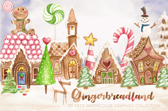 Gingerbread Land Watercolor Collection Graphic Illustrations By Dapper Dudell