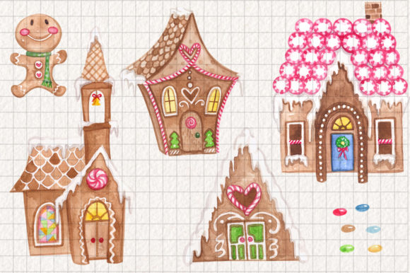 Gingerbread Land Watercolor Collection Graphic Illustrations By Dapper Dudell - Image 2