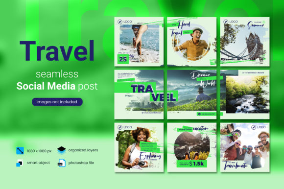Print on Demand: Travel Social Media Post - Green Color Graphic Websites By diqtam