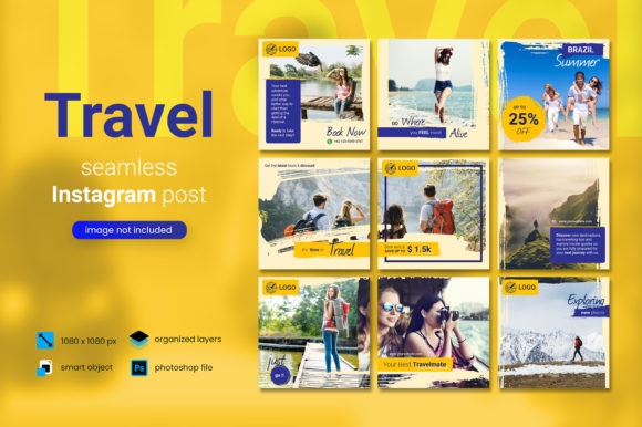 Print on Demand: Travel Social Media Post - Yellow Color Gráfico Páginas web Por diqtam