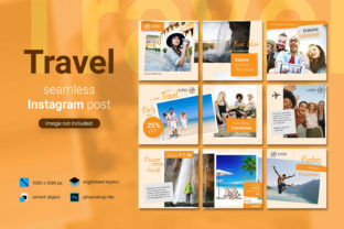 Travel Social Media Post - Orange Color Graphic By diqtam