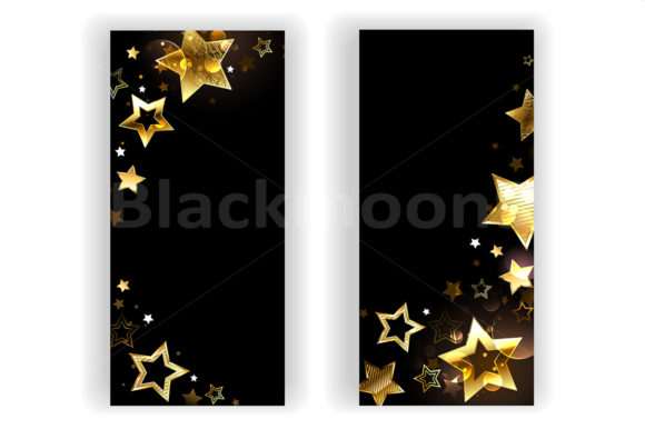 Two Banners with Small Gold Stars Graphic Graphic Templates By Blackmoon9