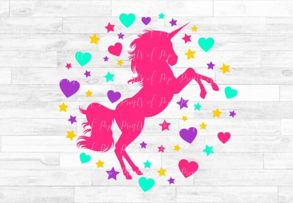 Unicorn with Hearts and Stars Graphic