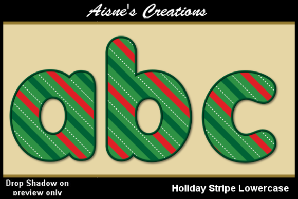 Print on Demand: Holiday Stripe Alphabet Lowercase Graphic Objects By Aisne