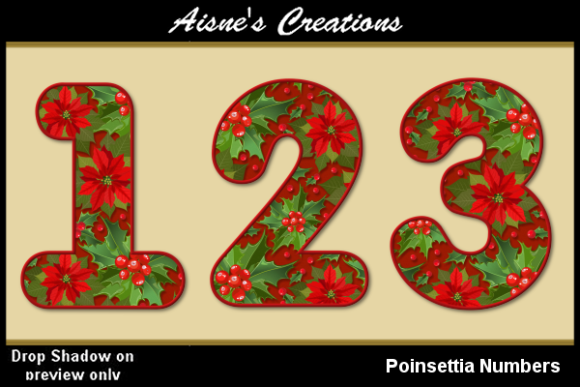 Print on Demand: Poinsettia Numbers Graphic Objects By Aisne