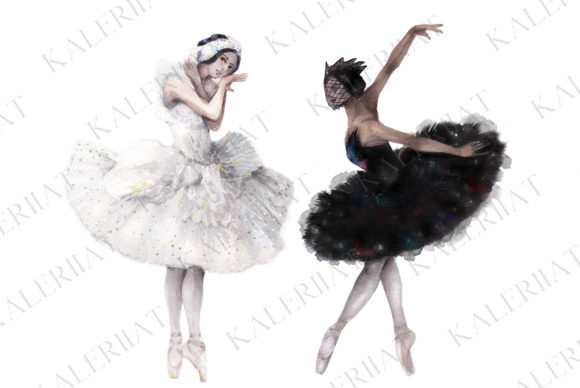Print on Demand: Black and White Swans, Watercolor Ballet Graphic Illustrations By kaleriiatv