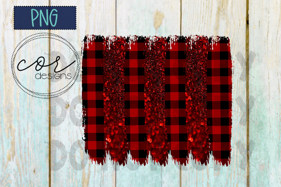 Print on Demand: Buffalo Plaid & Glitter Sublimation Graphic Crafts By designscor - Image 1