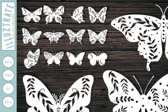 Print on Demand: Floral Butterfly  Bundle Graphic Crafts By illuztrate