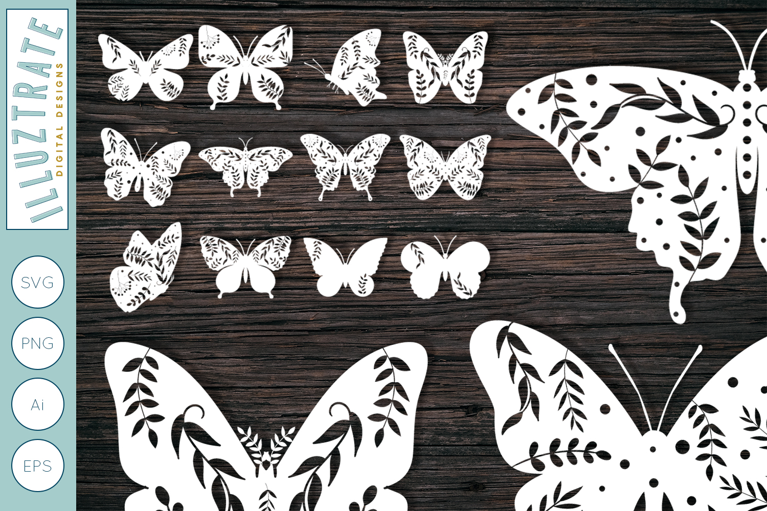 Download Free Floral Butterfly Bundle Graphic By Illuztrate Creative Fabrica for Cricut Explore, Silhouette and other cutting machines.