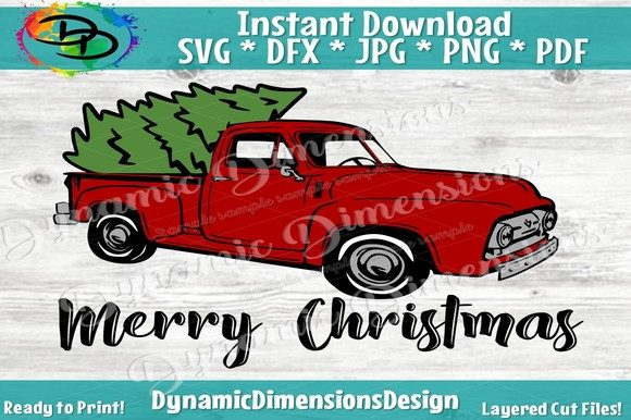 Download Free Red Truck Svg Merry Christmas Graphic By Dynamicdimensions for Cricut Explore, Silhouette and other cutting machines.