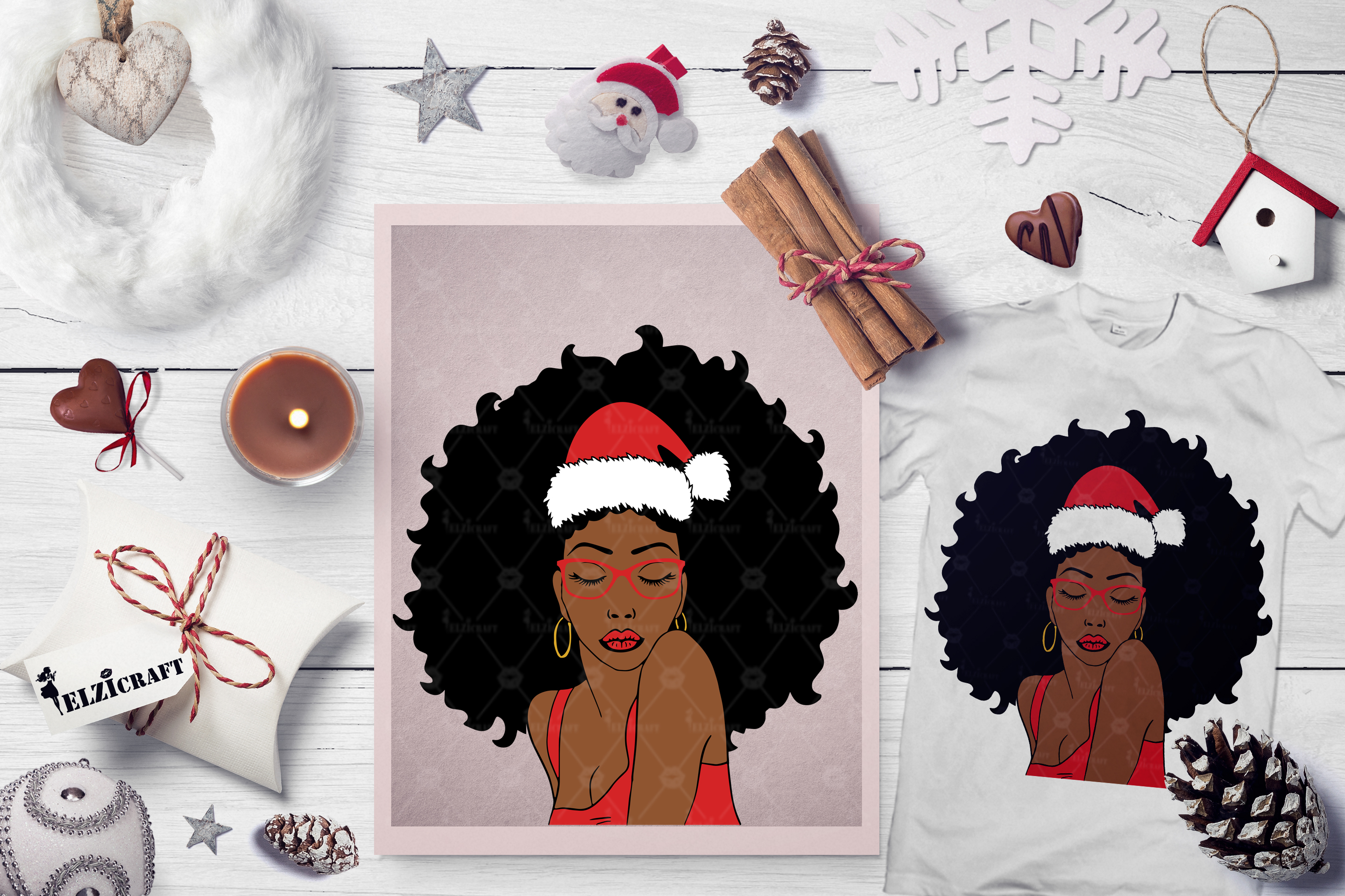 Download Free Christmas Afro Woman Santa Claus Hat Graphic By Elzicraft for Cricut Explore, Silhouette and other cutting machines.