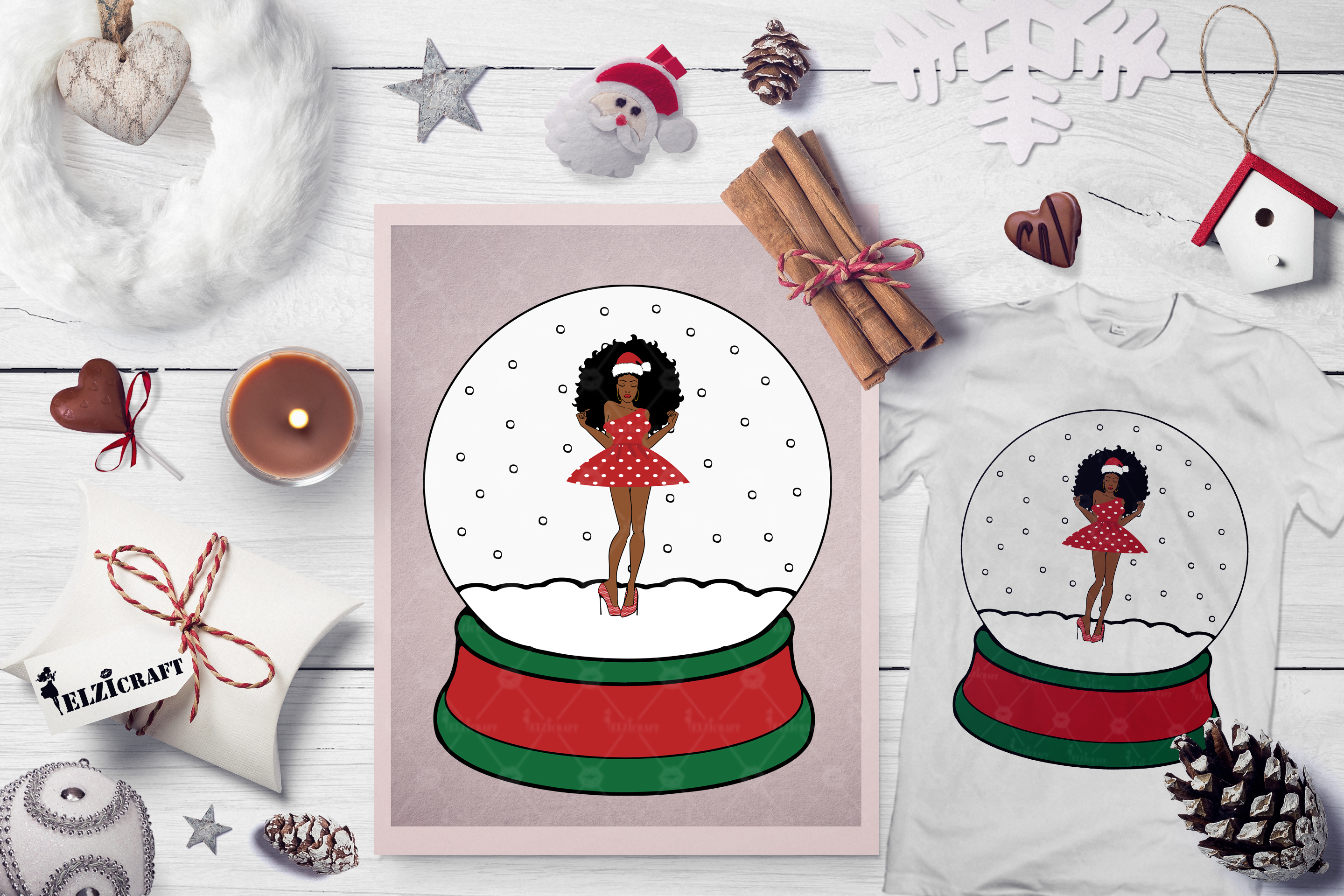 Download Free Christmas Afro Woman Body Snow Globe Graphic By Elzicraft for Cricut Explore, Silhouette and other cutting machines.