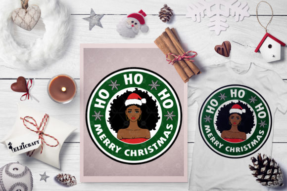 Download Free Merry Christmas Afro Girl Santa Hat Graphic By Elzicraft for Cricut Explore, Silhouette and other cutting machines.