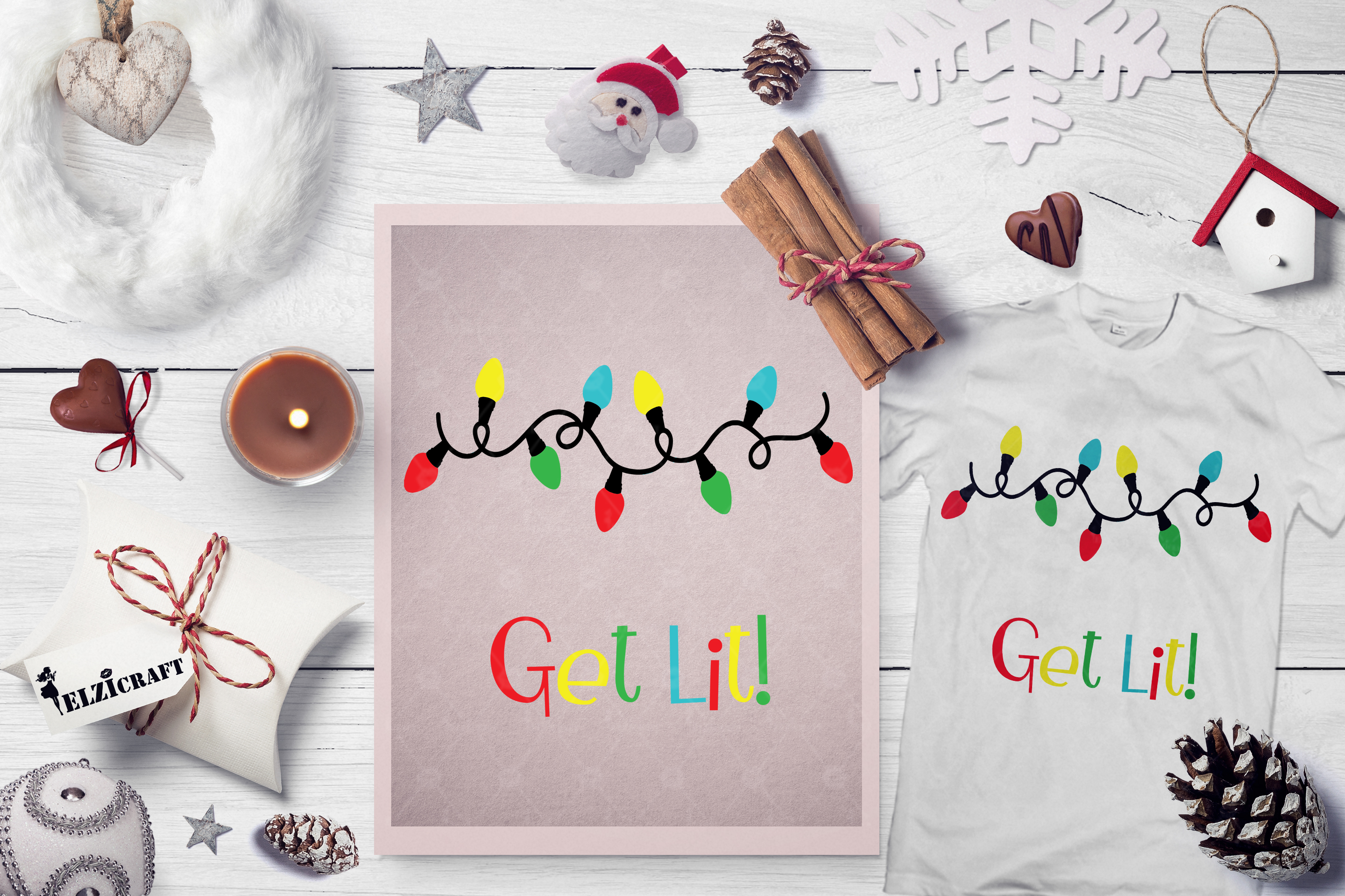 Download Free Christmas Lights Get Lit Winter Seaon Graphic By Elzicraft for Cricut Explore, Silhouette and other cutting machines.