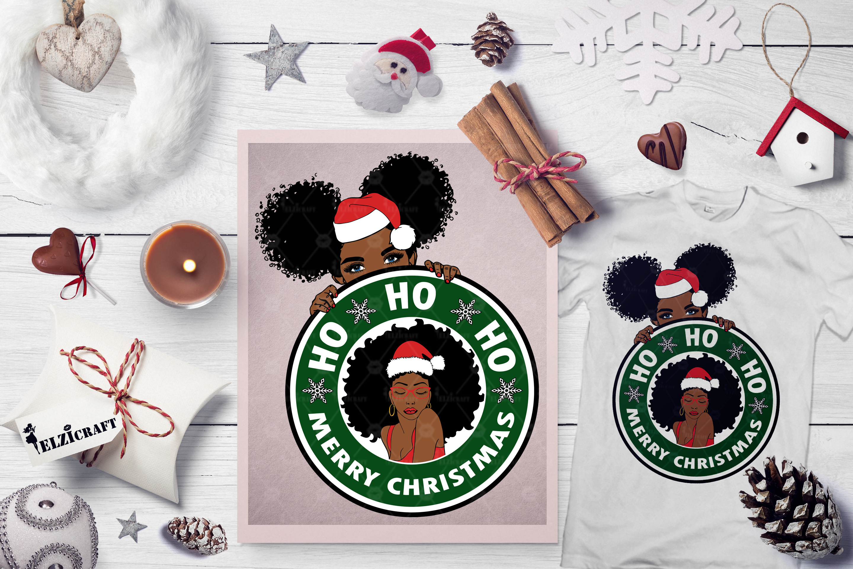 Download Free Christmas Afro Woman And Girl Peeking Graphic By Elzicraft SVG Cut Files