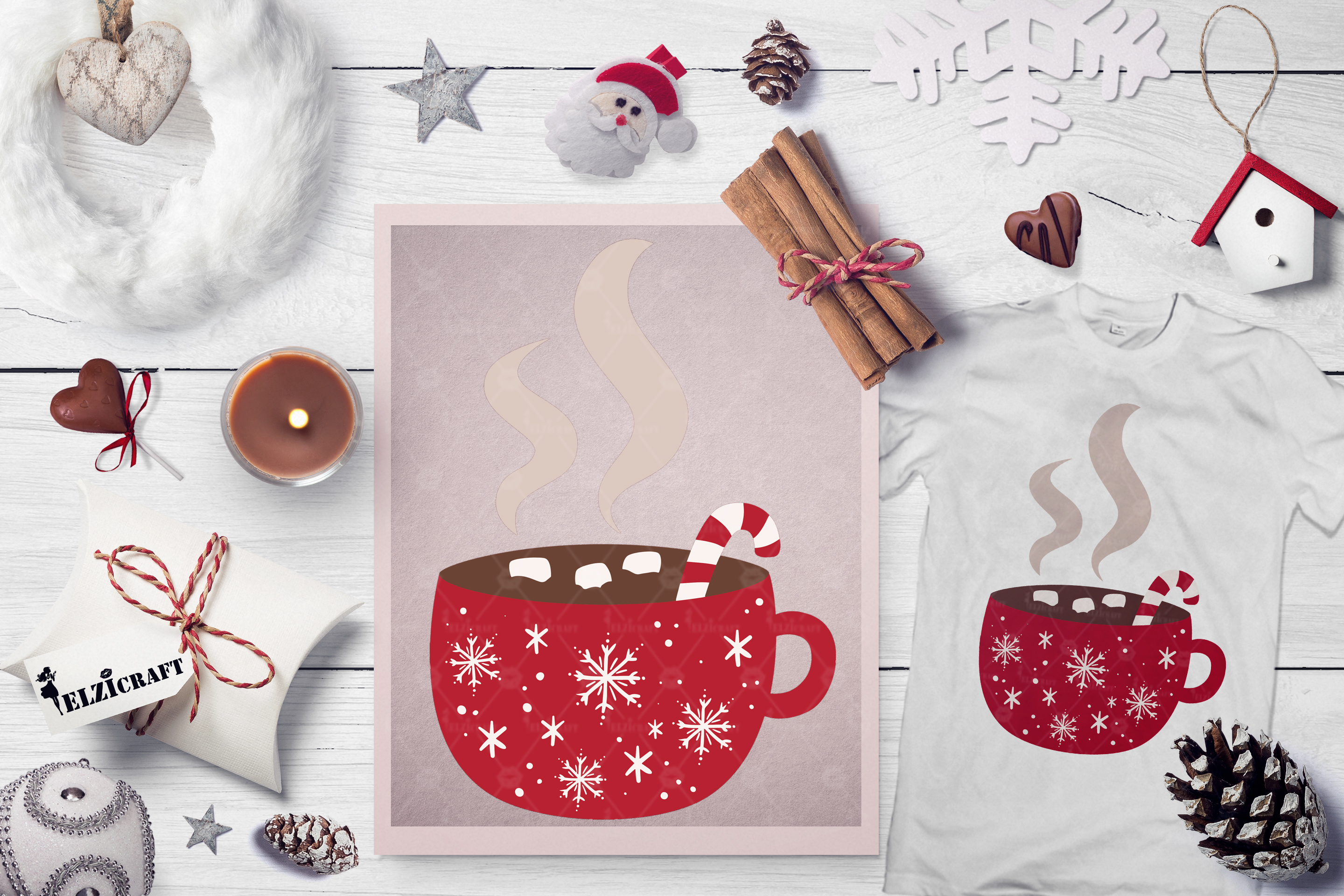 Download Free Hot Chocolate Christmas Mug Candy Cane Graphic By Elzicraft for Cricut Explore, Silhouette and other cutting machines.
