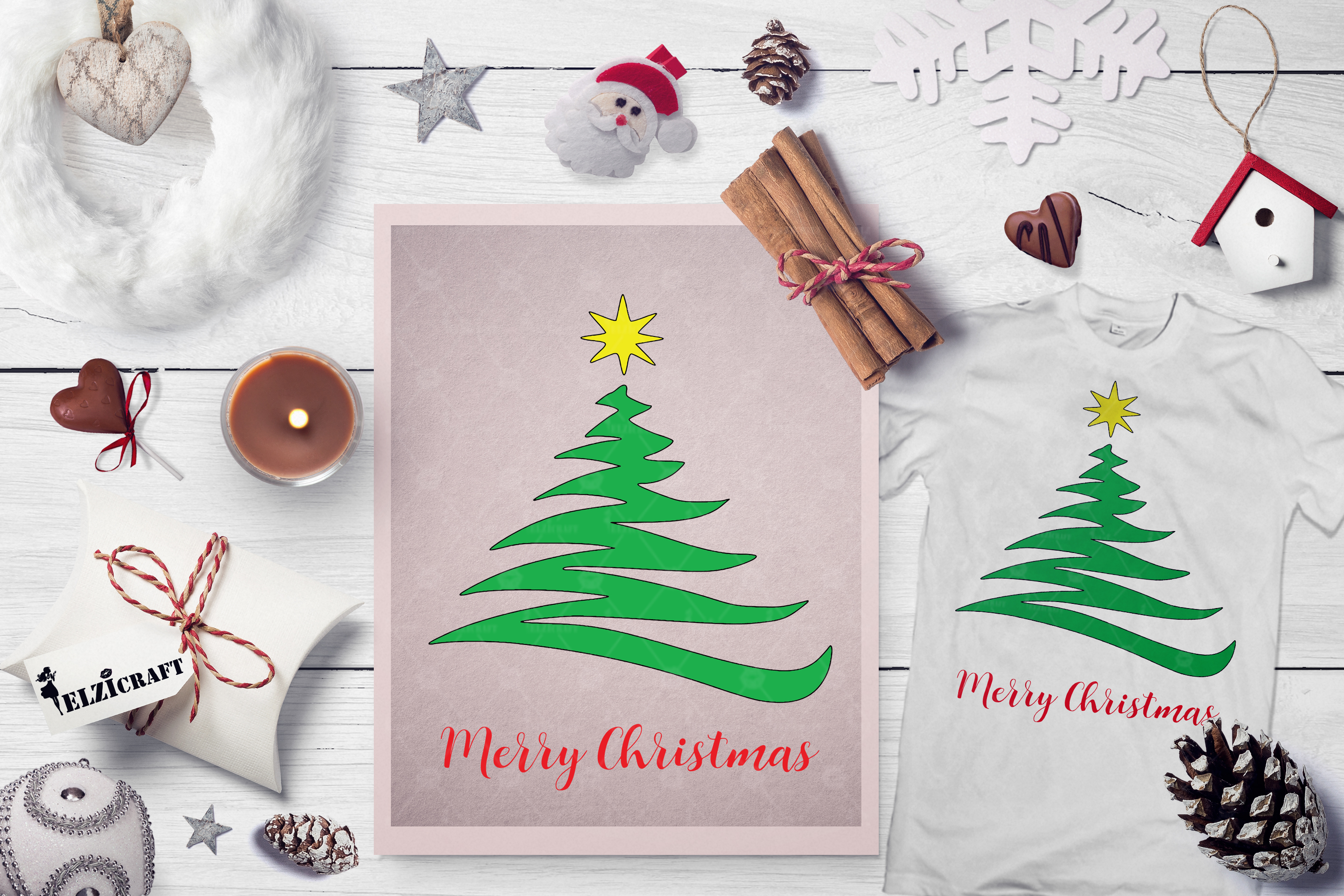Download Free Merry Christmas Christmas Tree Star Graphic By Elzicraft for Cricut Explore, Silhouette and other cutting machines.