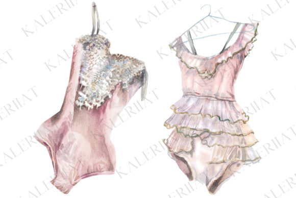 Print on Demand: 2 Watercolor Powder Pink Costumes Graphic Illustrations By kaleriiatv