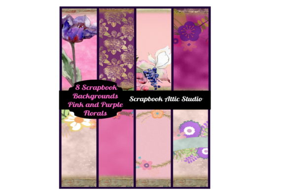 Print on Demand: 8 Pink and Purple Floral Scrapbook Pages Graphic Illustrations By Scrapbook Attic Studio