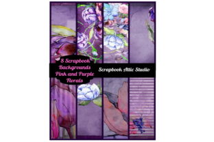 8 Purple and Pink Floral Scrapbook Pages Graphic By Scrapbook Attic Studio