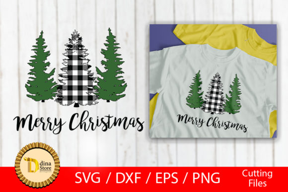 Christmas Bufflo and Green Trees , Svg Graphic By dina.store4art