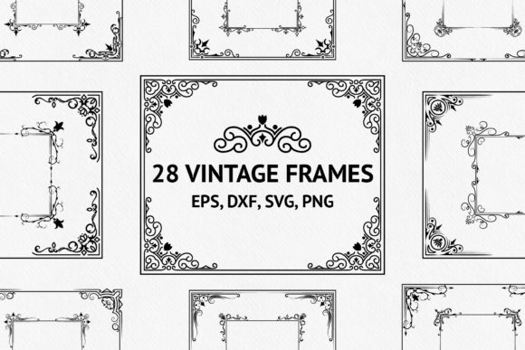 Download Free 40 Vintage Ornate Corners And Borders Graphic By Kirill S for Cricut Explore, Silhouette and other cutting machines.