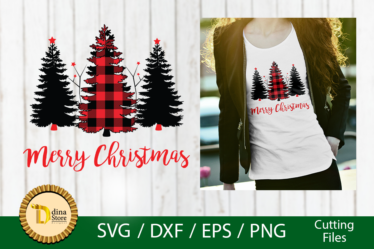 Download Free Christmas Red Plaid Trees Svg Cricut Graphic By Dina Store4art SVG Cut Files