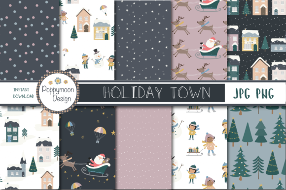 Print on Demand: Holiday Town Paper Gráfico Moldes Por poppymoondesign