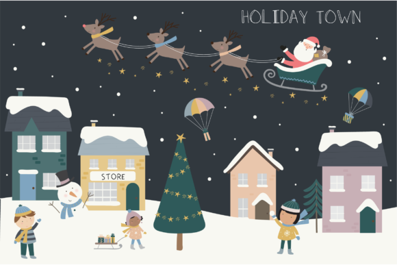 Print on Demand: Holiday Town Gráfico Ilustraciones Por poppymoondesign