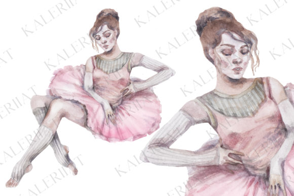 Print on Demand: Watercolor Pink Ballet Dancer Girl Graphic Illustrations By kaleriiatv