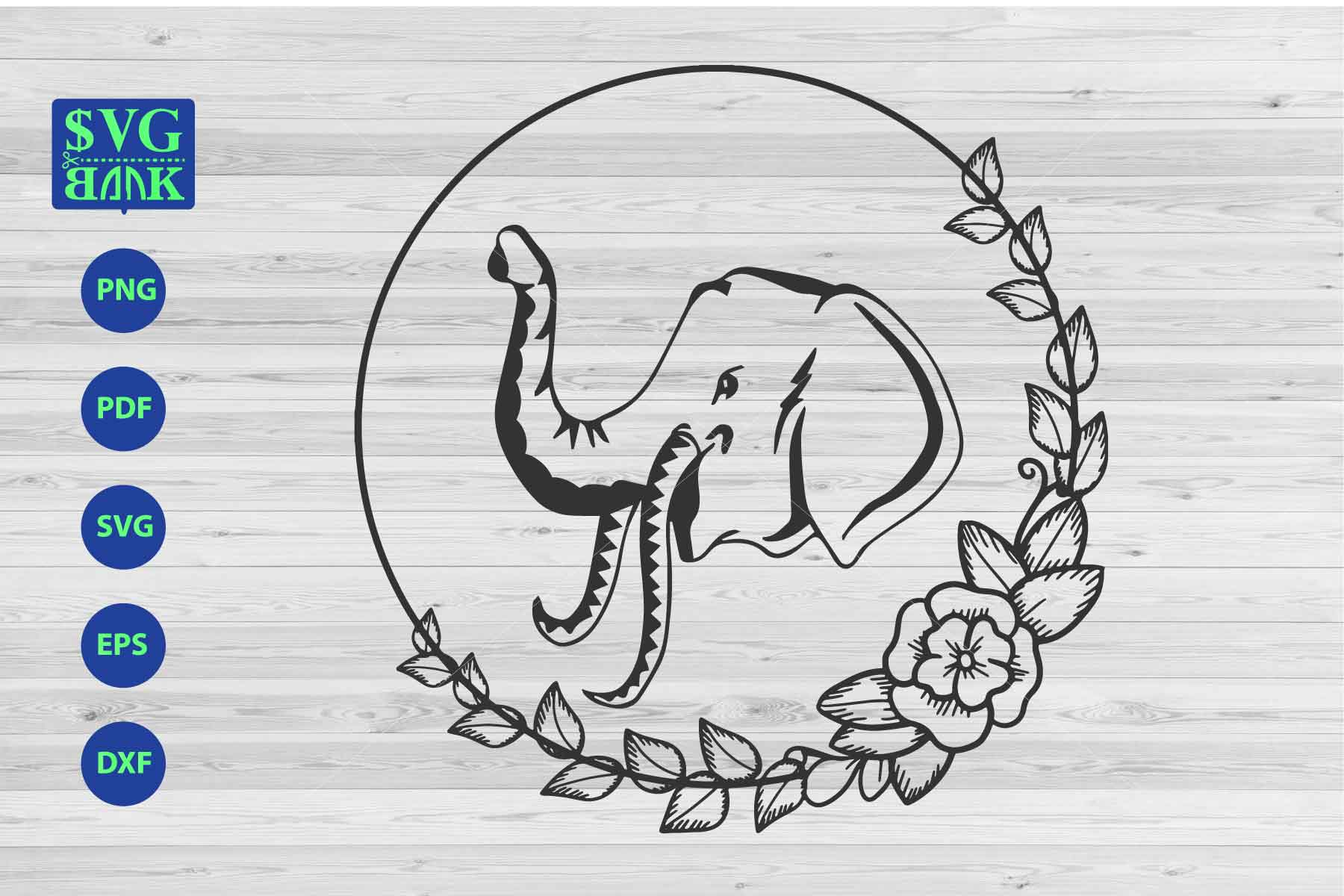 Download Free Elephant S Head In Frame Grafico Por Svgbank Creative Fabrica for Cricut Explore, Silhouette and other cutting machines.