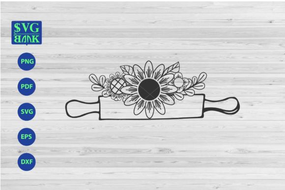 Print on Demand: Rolling Pin with Flower SVG File Graphic Crafts By svgBank