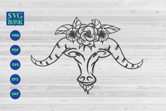 Download Free Goat S Skull With Flower Graphic By Svgbank Creative Fabrica for Cricut Explore, Silhouette and other cutting machines.