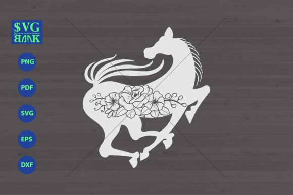 Horse Svg, Horse with Flower Cut File Graphic By svgBank